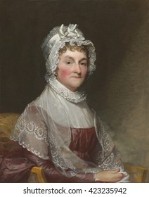 Abigail Smith Adams, by Gilbert Stuart, c. 1800-15, American painting, oil on canvas. First Lady Abigail Adams sat for this portrait in Philadelphia during her husband's presidency. She was 56 at the
