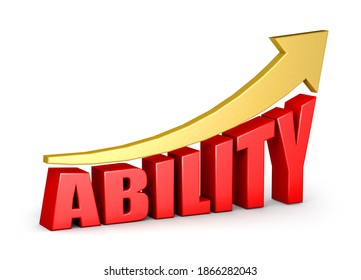 Ability red word with upward golden arrow on white background. Ability concept. 3d illustration, 3d rendering.