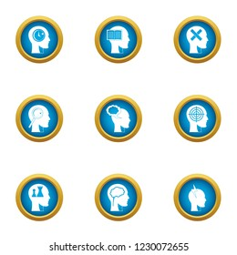 Ability to think icons set. Flat set of 9 ability to think icons for web isolated on white background