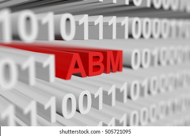 ABM in the form of a binary code with blurred background 3D illustration