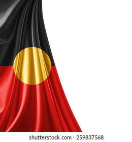 Aboriginal Australia  flag fabric and white background