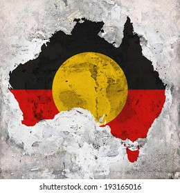 Aboriginal Australia  flag map and wall background