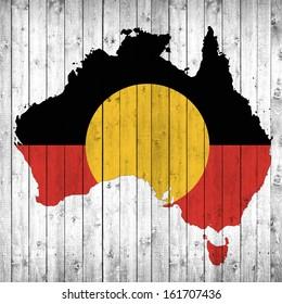 Aboriginal, Australia flag map, wood background