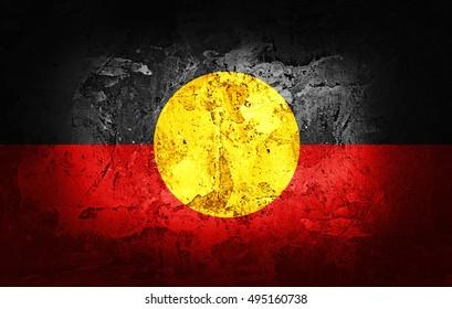 Aboriginal Australia  Flag painted on grunge wall-3D illustration