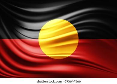 Aboriginal Australia flag of silk -3D illustration