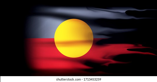 Aboriginal Australia flag of silk and black background-3D illustration