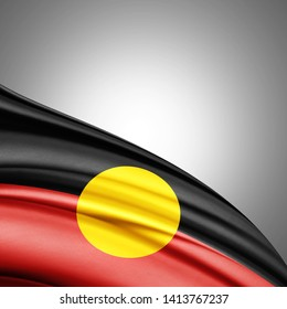 Aboriginal Australia flag of silk with copyspace for your text or images and white background-3D illustration