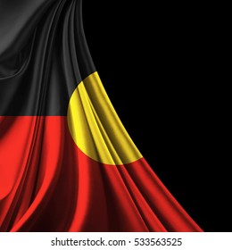 Aboriginal Australia  flag of silk with copyspace for your text or images and black background-3D illustration