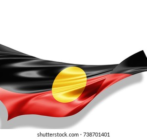 Aboriginal Australia flag of silk with copyspace for your text or images and white background -3D illustration