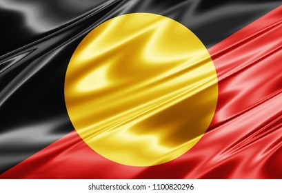 Aboriginal Australia flag of silk-3D illustration