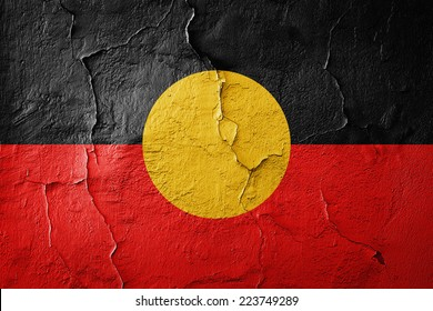 Aboriginal Australia  flag and wall background