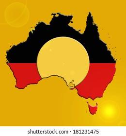 Aboriginal Australia  flag and yellow background