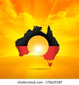 Aboriginal Australia flag,map, continent,sky, sun and clouds background