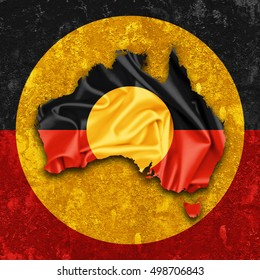 Aboriginal Australia flag,map of silk  and wall background-3D illustration