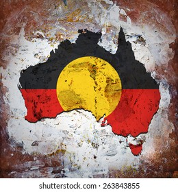 Aboriginal Australia flag,map  and wall background