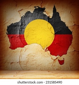 Aboriginal Australia map  and wall background