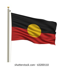 Aboriginal flag with flag pole waving in the wind over white background
