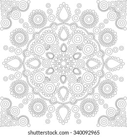Aboriginal style of dot painting and power of mandala - Doodle dot ornament, art mandala. Black and white ethnic background.Coloring book for adults and kids.