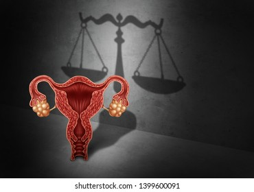 Abortion law and reproductive justice as a legal concept for reproduction rights as legislation by government to decide laws concerning pro life or choice with 3D illustration elements.
