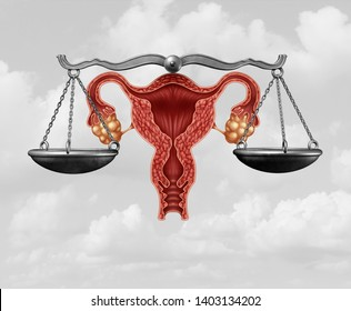 Abortion legislation and reproductive justice as a legal concept for reproduction rights law  by government to decide laws concerning pro life or choice with 3D illustration elements.