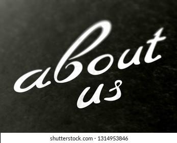 About us. 3D Illustration.