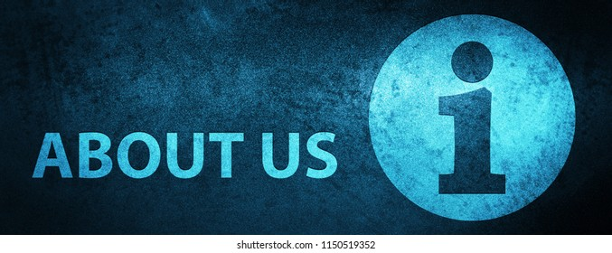 About us isolated on special blue banner background abstract illustration
