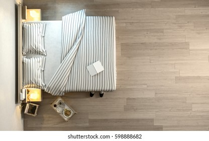 From above view of wide bed with striped linens, book and little portable coffee table on wooden parquet floor. Copy space. 3d Rendering.