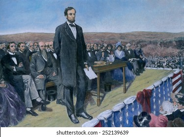 Abraham Lincoln (1809-1865) delivering the Gettysburg Address at the dedication ceremonies at the Soldiers' National cemetery. Nov. 19, 1863. 20th century print with modern color.