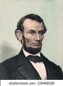 Abraham Lincoln (1809-1865), hand colored lithography published after Lincoln's death in 1865.