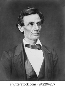 Abraham Lincoln (1809-1865) portrait of June 3, 1860 by Alexander Hesler. This is one of three portraits made that day, shortly after Lincoln won Republican nomination and before he grew his beard.