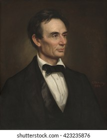Abraham Lincoln, by George Peter Alexander Healy, 1860, American painting, oil on canvas. Chicago philanthropist Thomas B. Bryan commissioned this portrait of President-elect Lincoln. It is the last