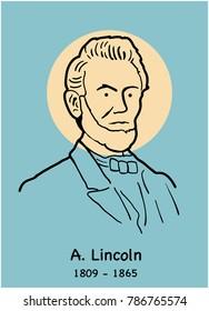 Abraham Lincoln stylized portrait.  US president Lincoln portrait concept