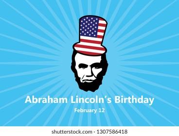 Abraham Lincolns Birthday illustration. February 12, the birthday of President Abraham Lincoln. Abraham Lincoln icon. Important day