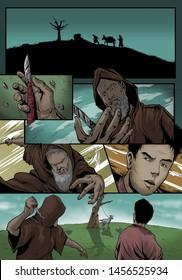 Abraham's Sacrifice. Abraham Trying To Kill His Son, Isaac.