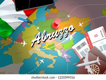 Abruzzo city travel and tourism destination concept. Italy flag and Abruzzo city on map. Italy travel concept map background. Tickets Planes and flights to Abruzzo holidays Italian vacation