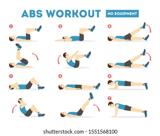 ABS workout for men. Sport exercise for perfect abs. Fit body and healthy lifestyle. Muscle training. Isolated  illustration