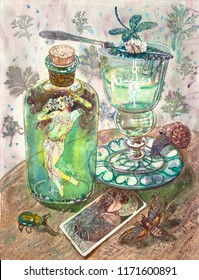 Absinth fairy. Beautiful girl in a belly dance costume, green absinthe bottle, glass, insects, dragonfly, snail, beetle, death's head hawkmoth, art nouveau picture. Fantasy gothic vintage illustration