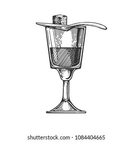 Absinthe alcohol narcotic drink engraving raster illustration. Scratch board style imitation. Black and white hand drawn image.