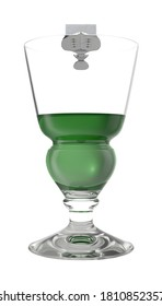 Absinthe Glass with Spoon 3D illustration on white background