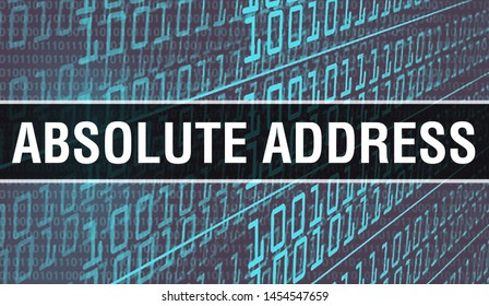 Absolute address concept illustration using code for developing programs and app. Absolute address website code with colourful tags in browser view on dark background. Absolute address on binary