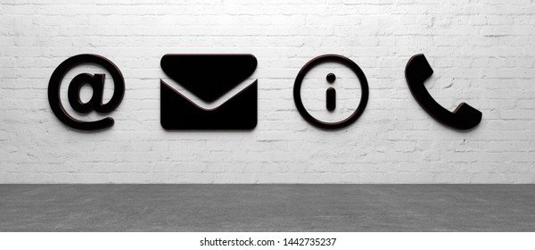 abstact contact symbol in front of background - 3D Illustration