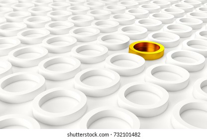 Abstact white modern architecture background with white circles and one gold on the wall. 3d rendering