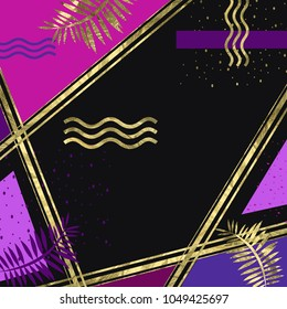 abstarct background of golden stripes and elements with  violet and purple parts on dark background