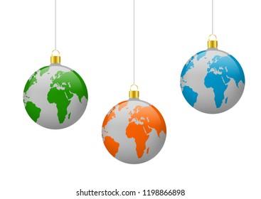 Abstarct christmas ball, earth planet world globe map
