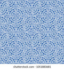 Abstra seamless geometrical pattern with blue watercolor texture on a light grey background. Floor ceramic tile, wallpaper, wrapping paper, page fill in Mediterranean ceramic style