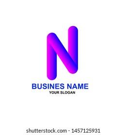 Abstrack N Logo Business   Color Concept, Abstrack Logo Illustration eps.10