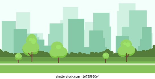 Abstract 2d background with buildings and trees