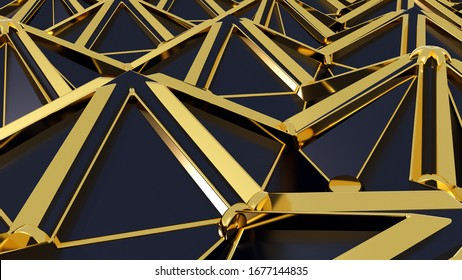 Abstract 3D background with fantasy luxury pattern of black triangular polygons, golden pucks, wires and lines. 3D illustration