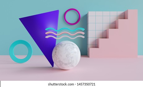Abstract 3d background - 3d rendered background with geometric shapes