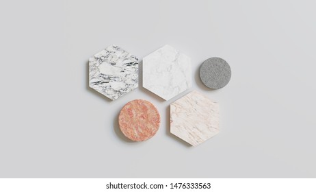 Abstract 3D Background - 3D rendered illustration with marble tiles on a grey background